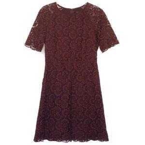 Madewell Burgundy Lace Magnolia Dress